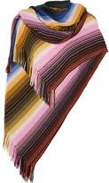 Missoni Fringed Crochet-knit Wool-blend Poncho - Pink