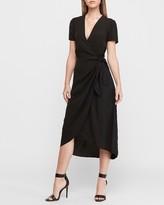 Express Wrap Front Hi-Lo Midi Dress