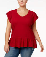 Style&Co. Style & Co Plus Size Cotton Jacquard Peplum Top, Created for Macy's