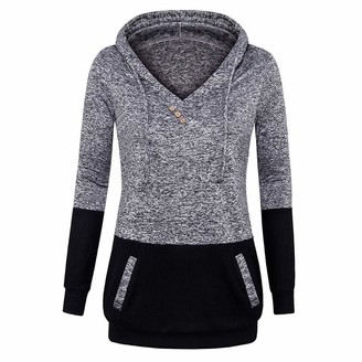 Toamen Women's Tops Womens Tops Toamen Clothes Sale Clearance Fashion Color Block Long Sleeve Hooded Sweatshirt Blouse Pullover with Kangaroo Pockets (Grey 10)