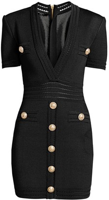 Balmain Short-Sleeve Plunge Bodycon Dress