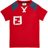 Fendi LOGO APPLIQUÉ T-SHIRT-RED SIZE 9
