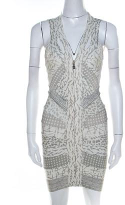 Herve Leger Dove Grey Multi Print Paneled Halter Bandage Dress XS