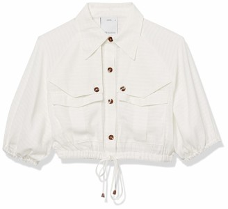 C/Meo Women's Go On Collared Short Sleeve Utility Cropped Button Down Top
