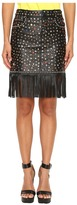 Jeremy Scott Studded Leather Fringe Skirt