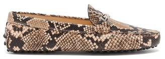 Tod's Gommino Python-effect Leather Loafers - Womens - Black Pink