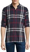Burberry Ecclestone Lightweight Check Sport Shirt, Navy/Black