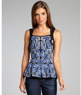 Torn By Ronny Kobo black and cobalt knit 'Chloe' peplum sleeveless top