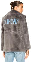 Alberta Ferretti Sunday Rabbit Fur Coat in Gray.