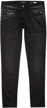 Replay Anbass Hyperflex Black Slim-leg Jeans