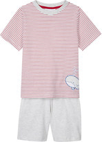 The Little White Company Whale print striped cotton pyjamas 1-6 years