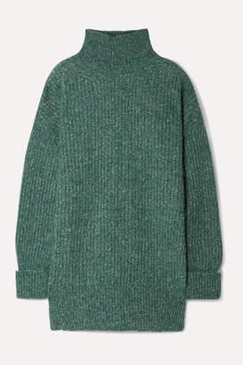 Vanessa Bruno Mia Melange Ribbed-knit Turtleneck Sweater - Emerald