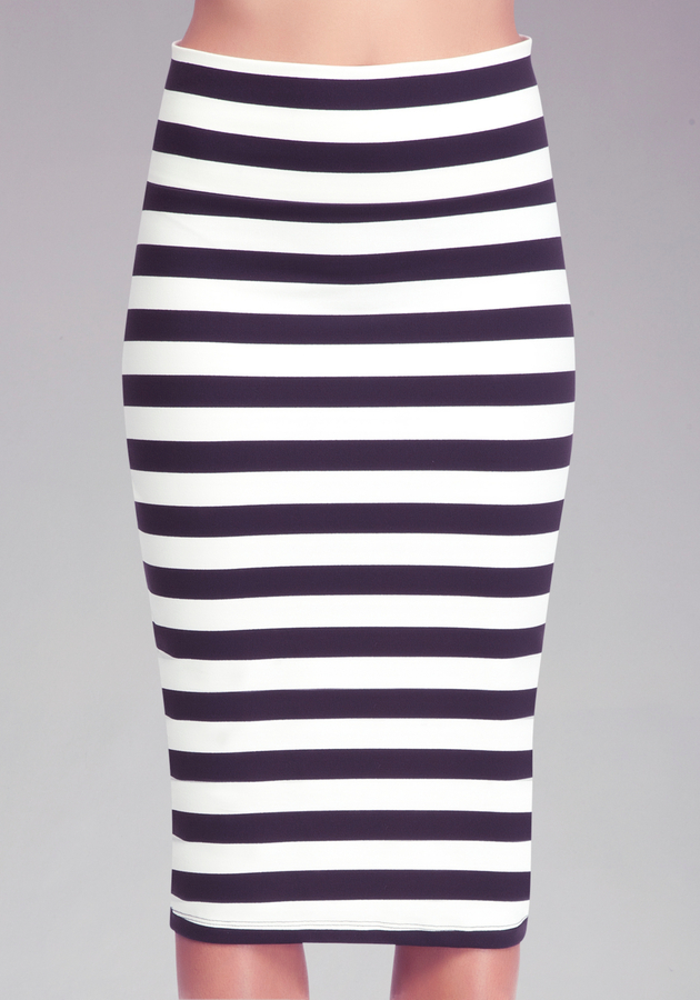 Bebe Stripe Knit Midi Skirt