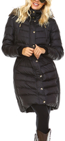 Michael Kors Black Faux Fur Fitted-Waist Puffer Coat