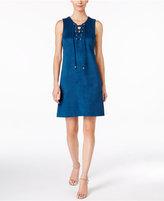 Sandra Darren Petite Lace-Up Faux-Suede Dress