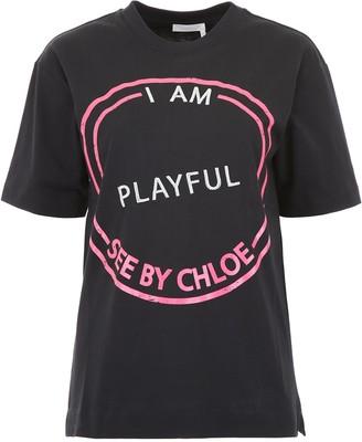 See by Chloe Slogan Printed T-Shirt