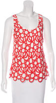Lela Rose Lace-Trimmed Sleeveless Top
