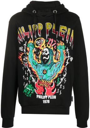 Philipp Plein Grim Reaper Print Hoodie