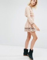 Gat Rimon Nabi Pale Pink Ruched Waist Boho Dress