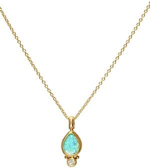 Gurhan 24K/22K/18K Yellow Gold Opal & Diamond Pendant Necklace, 16-18
