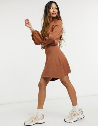 ASOS DESIGN knitted fit and flare dress with pleat sleeve detail in camel