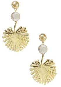 Ettika Palm Leaf Earrings with Pearl