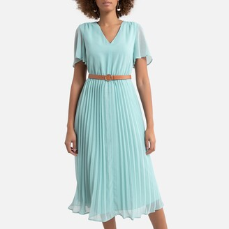 La Redoute Collections Plisse V-Neck Midi Dress with Short Sleeves