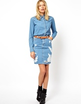 Asos Denim Skirt in Ripped Vintage Wash