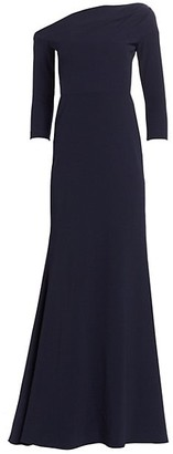 Lela Rose Ruched Asymmetric Neckline Gown