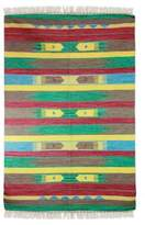 Handcrafted Geometric Wool Striped Area Rug (4x6.5), 'Indian Splendor'
