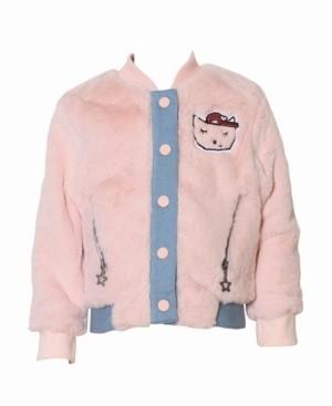 kinderkind Toddler, Little, and Big Girls Fur Bomber Jacket