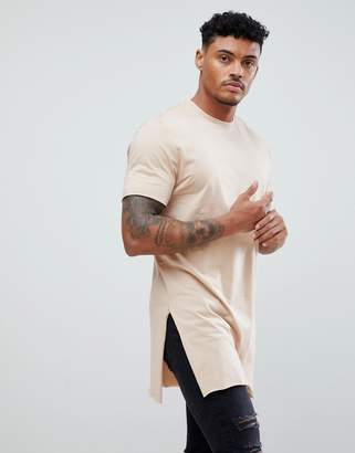 BEIGE Asos Design ASOS DESIGN super longline t-shirt with extra long side splits and raw edges in