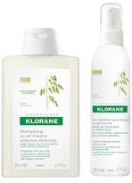 Klorane Shampoo and Leave-In Detangling Spray with Oat Milk Set