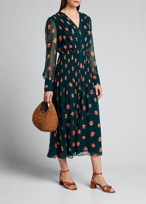 Jason Wu Printed Long-Sleeve V-Neck Smocked Waist Dress
