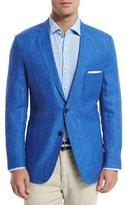 Peter Millar Two-Button Linen Soft Coat, Blue