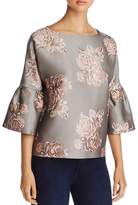 Badgley Mischka Brocade Bell-Sleeve Top