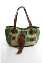 Jamin Puech Grass Green Tan Leather Canvas Buckle Detail Philiburt Handbag