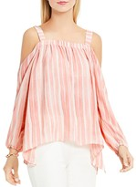 Vince Camuto Abstract Stripe Cold Shoulder Blouse