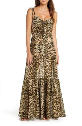 Veronica Beard Windansea Leopard Print Cover-Up Maxi Dress