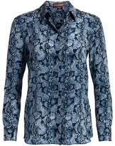 Altuzarra Chika Snakeskin-Print Silk Shirt