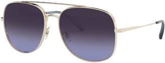 Oliver Peoples Taron Square Aviator Metal Sunglasses