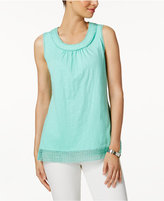 Charter Club Cotton Crochet-Trim Top, Only at Macy's