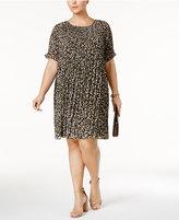 MICHAEL Michael Kors Size Camo-Print Pleated T-Shirt Dress