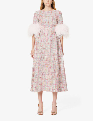 Huishan Zhang Mariah tweed-print feather-trimmed woven midi dress