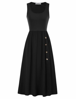 Liumilac Aline Graduation Dresses for Teens Sleeveless U Neck Long Black Dress with Slit