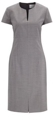 HUGO BOSS Short Sleeved Dress In Patterned Virgin Wool With Notch Neckline - Patterned