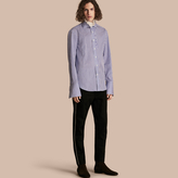 Burberry Ruffle Detail Double Cuff Striped Cotton Shirt