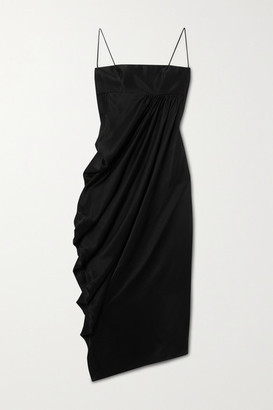 LADO BOKUCHAVA Draped Satin Midi Dress - Black
