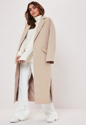Missguided Camel Side Split Formal Midaxi Coat