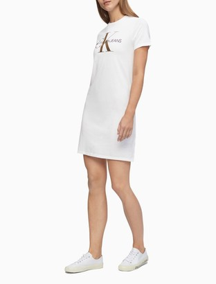 Calvin Klein Monogram Logo Short Sleeve T-Shirt Dress
